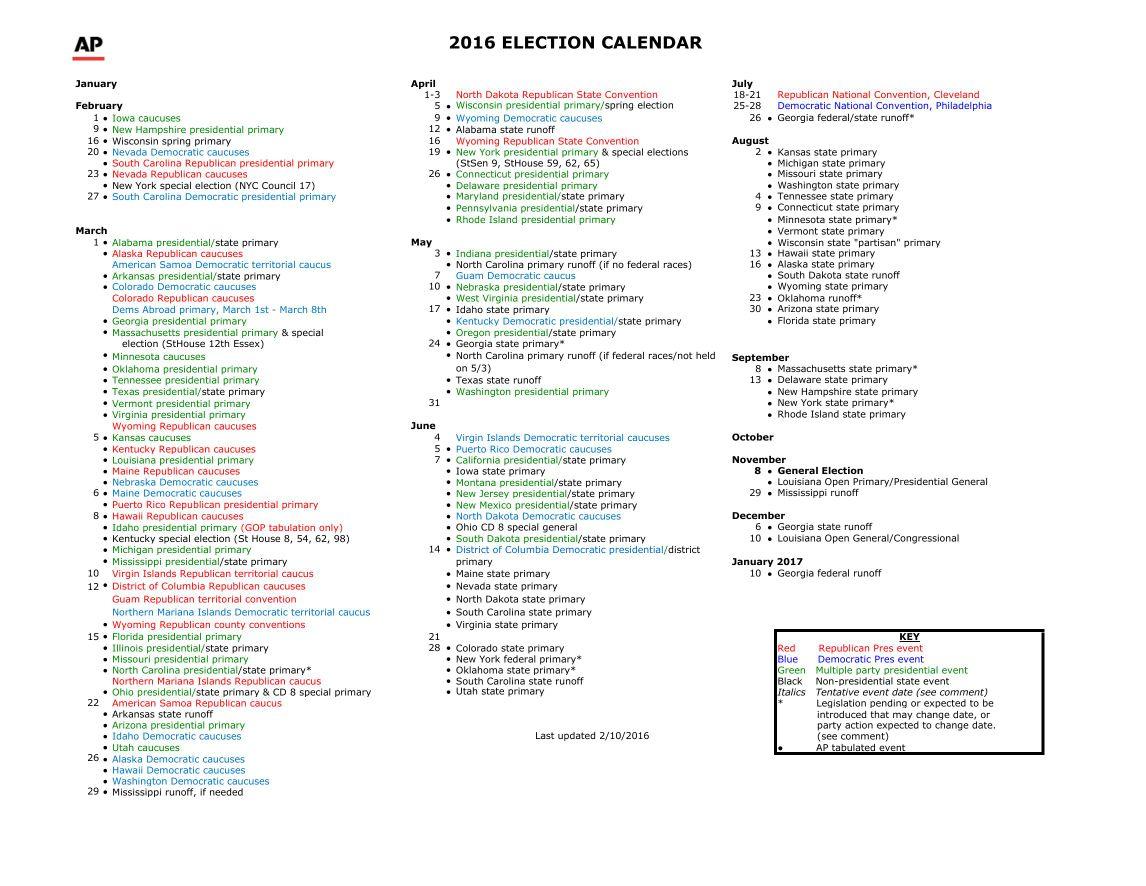 2016 national electoral calendar