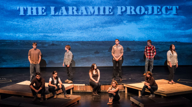 Laramie project play tells story of gay mans death performing the cast the laramie project from left kyle maloy nate brickhouse hayden newman andrew newton hayley greenstreet lee larson celia quillan fandeluxe Images