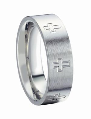 James Kurk Cobalt 7mm Brushed with Cross Engravings Band