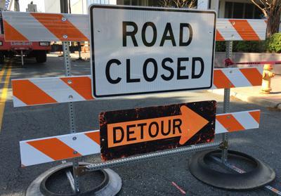 Road closed detour sign (copy)