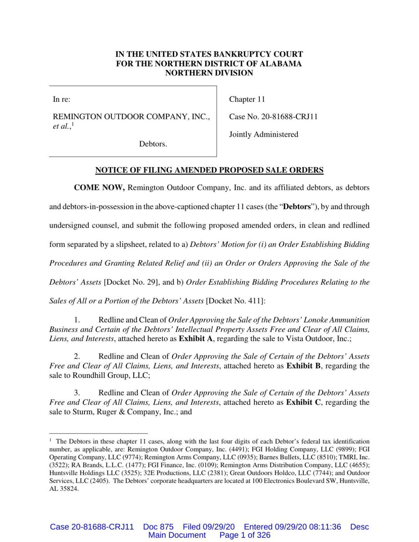 Remington bankruptcy auction filing