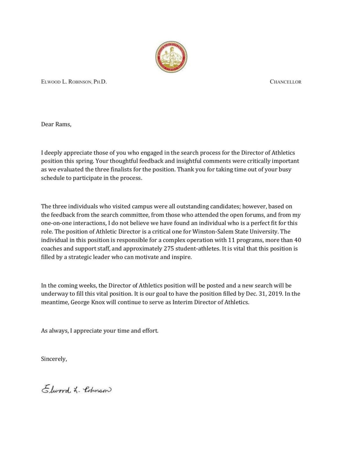 Letter from WSSU chancellor