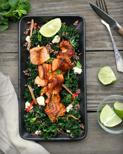 Grilled Salmon Skewers With Kale and Quinoa