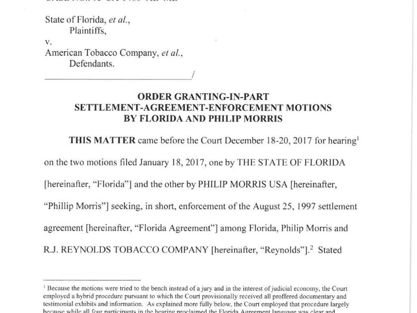 Florida Judge Rules Reynolds Retains Msa Payment Responsibility For