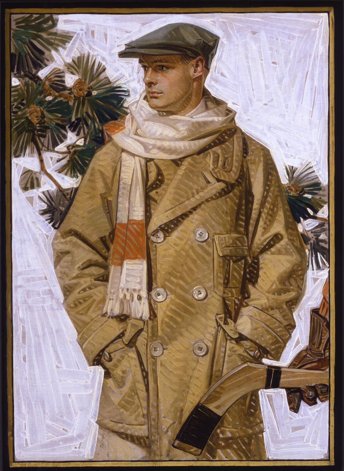Man in Coat and Scarf