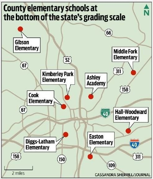 Map of Forsyth County schools at bottom of NC grading scale