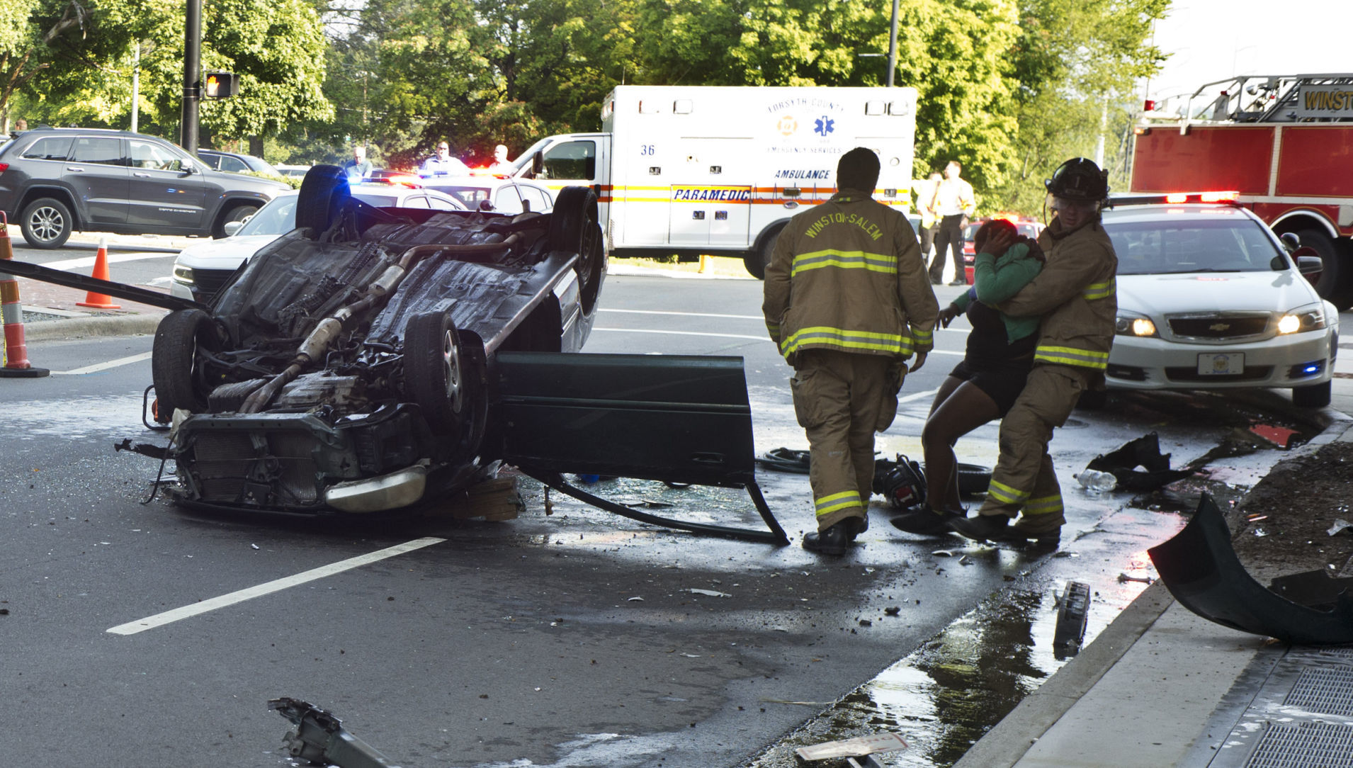 Roll-over crash closes Marshall Street in downtown Winston-Salem | Winston Salem Journal