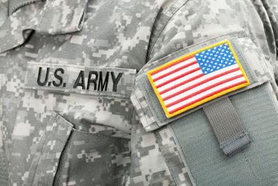 Close up studio shot of USA flag and U.S. ARMY patch on soldiers uniform