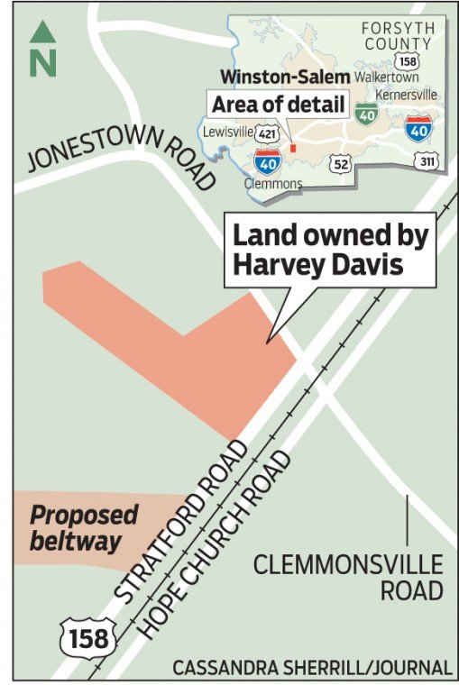 Land owned by Harvey Davis map