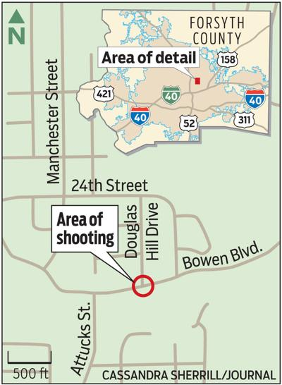 Map showing site of Edward McCrae's fatal shooting