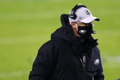 Head coach Doug Pederson of the Philadelphia Eagles looks on during the first quarter of the game against the Washington Football Team at Lincoln Financial Field on January 03, 2021 in Philadelphia, Pennsylvania.