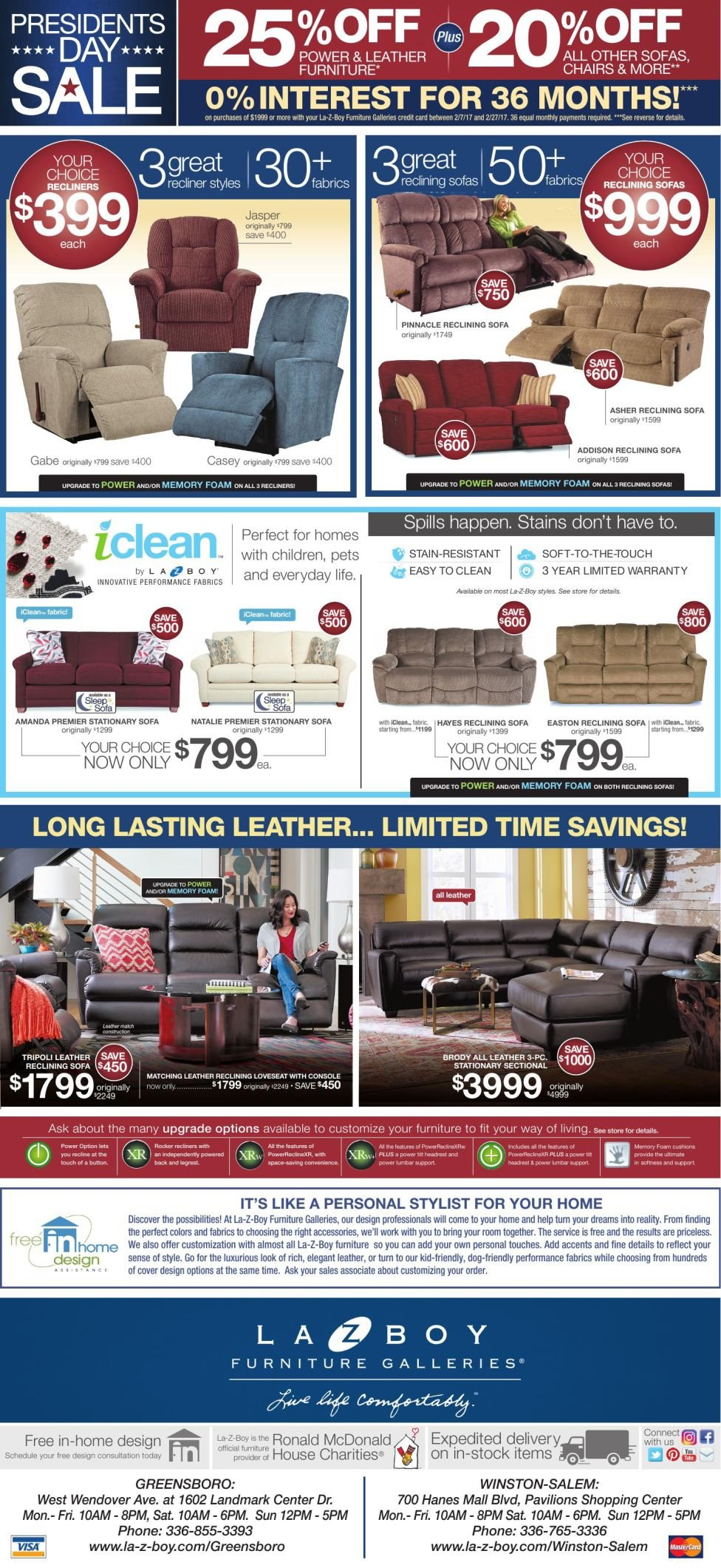 2017 Presidents Day Furniture Sale Flyer