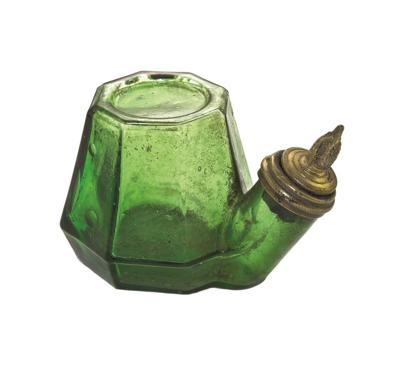 Green glass inkwell