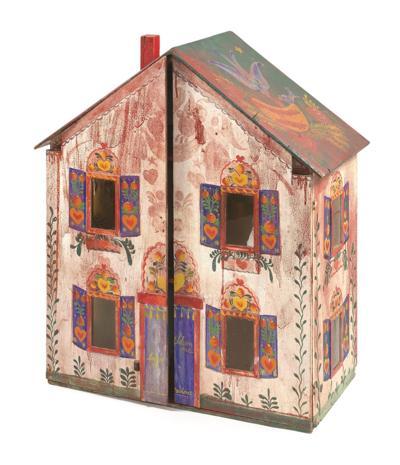 Folk art paintings on dollhouse