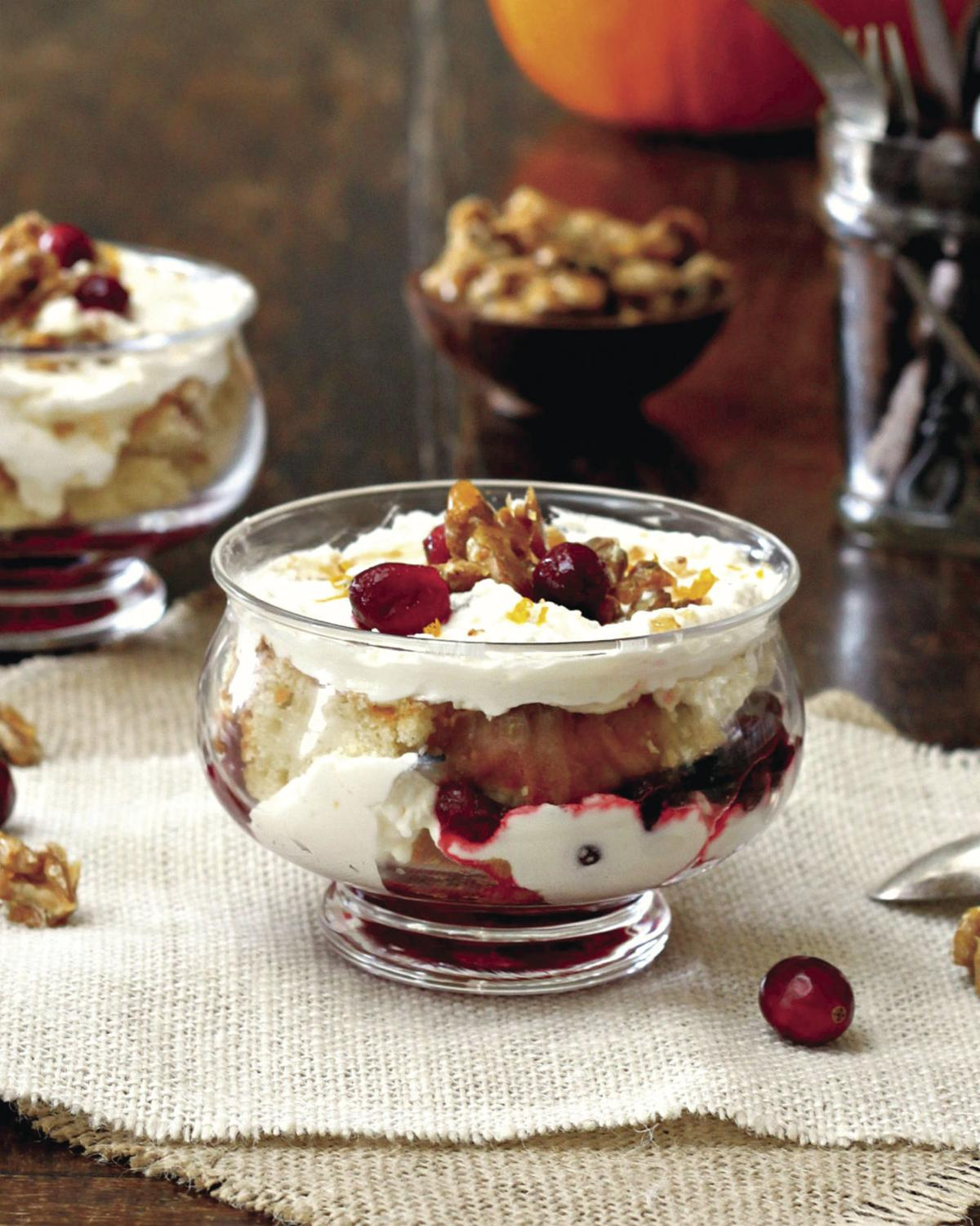 Cranberry Orange Trifle With Candied Walnuts
