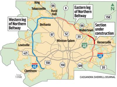 Winston Salem Map N.C. Court of Appeals blocks DOT payments to landowners along