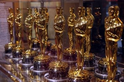 """Oscar statuettes that will be presented to winners at an Academy Award presentation are displayed at """"Meet the Oscars"""" in the Times Square Studios on February 12, 2007."""