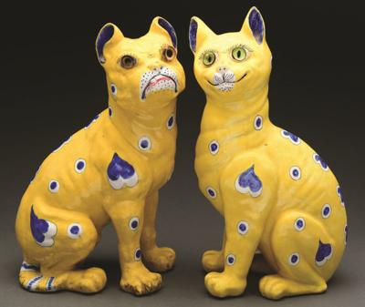 Bulldog and cat figurines