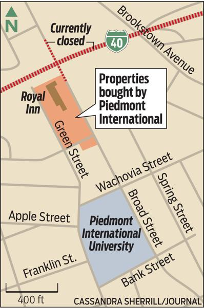 Map of properties bought by Piedmont International