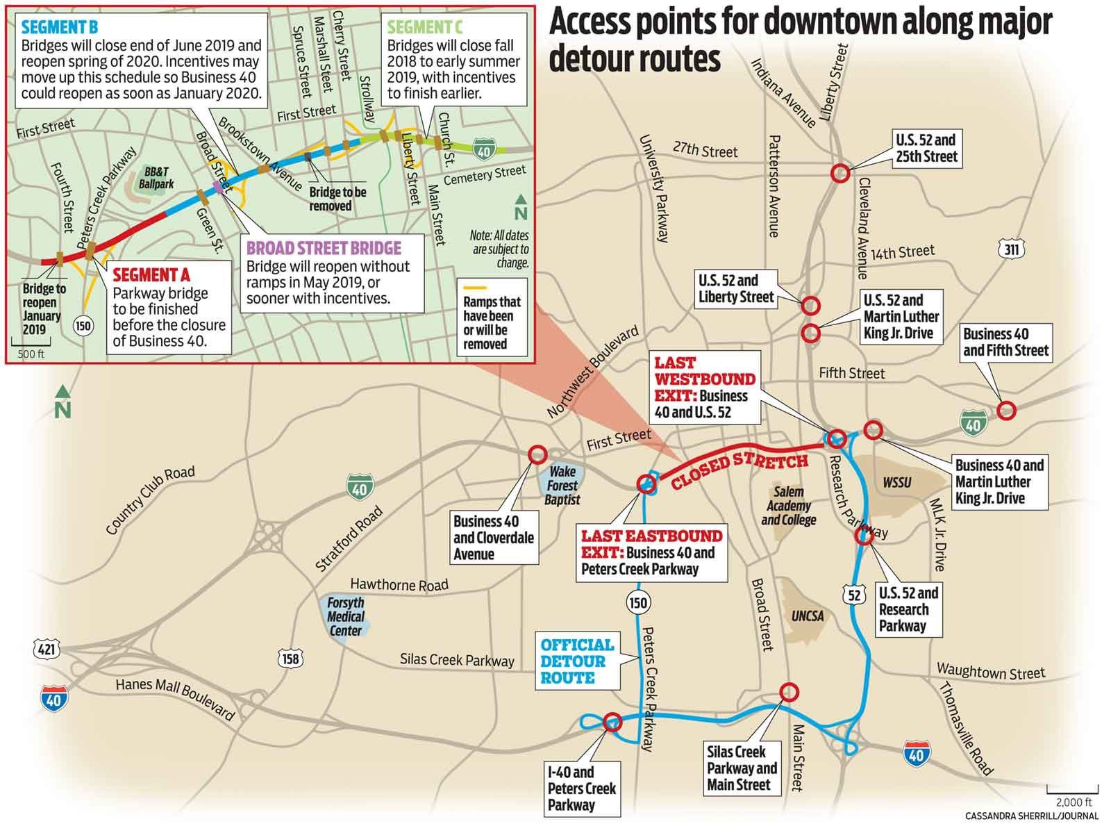 Old Salem Nc Map.Business 40 Detour Routes Sprout In Advance Of Saturday S Closure