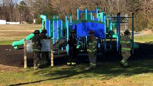 Suspicious fire damages school playground