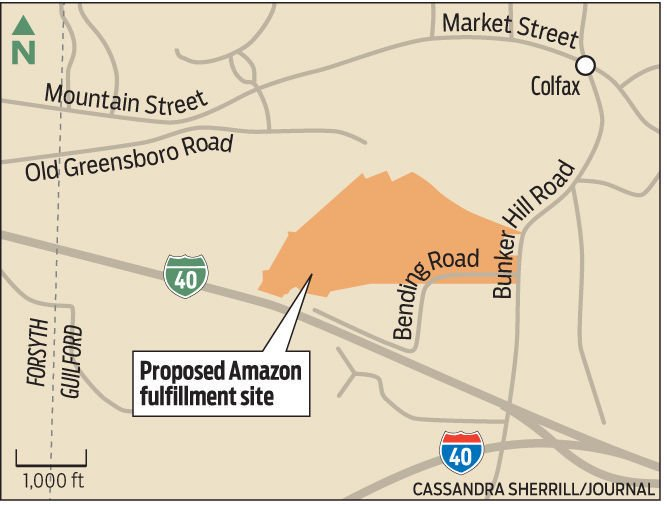 Map Of Proposed Amazon Fulfillment Center In Kernersville