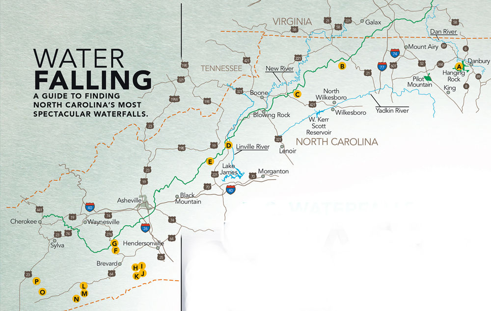 A Map Of Our Favorite Nc Waterfalls A Hanging Rock Waterfalls B Stone Mountain Falls C Cascade Falls D Linville Falls E Crabtree Falls F