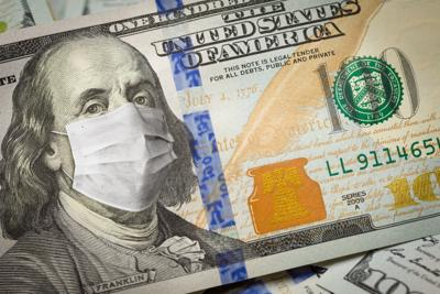 One Hundred Dollar Bill With Medical Face Mask on George Washington coronavirus