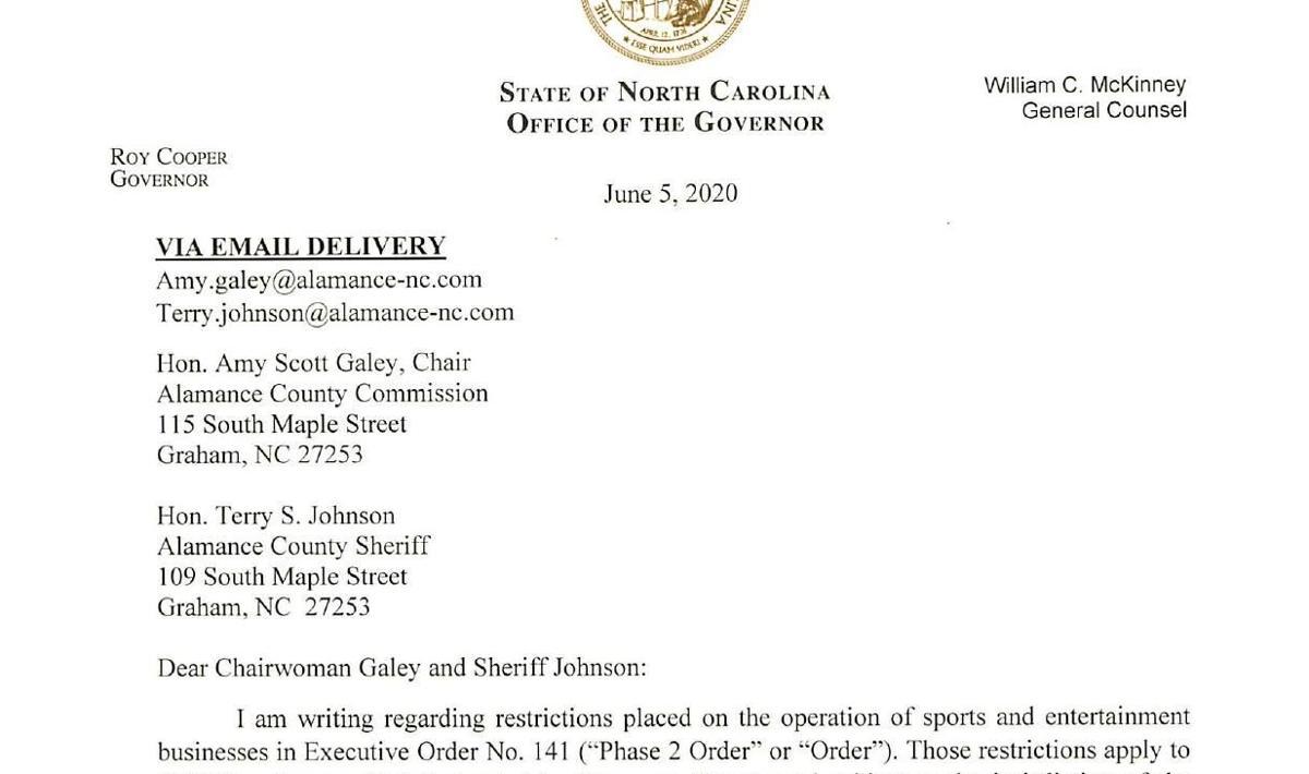 Gov. Cooper letter to Alamance officials