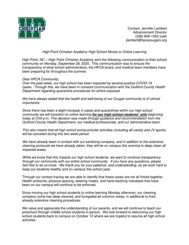 HPCA statement 092920