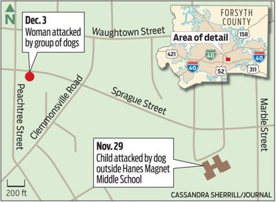 Map showing location of dog attacks