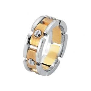 James Kurk 8mm Link Two Tone Yellow & White Gold Band