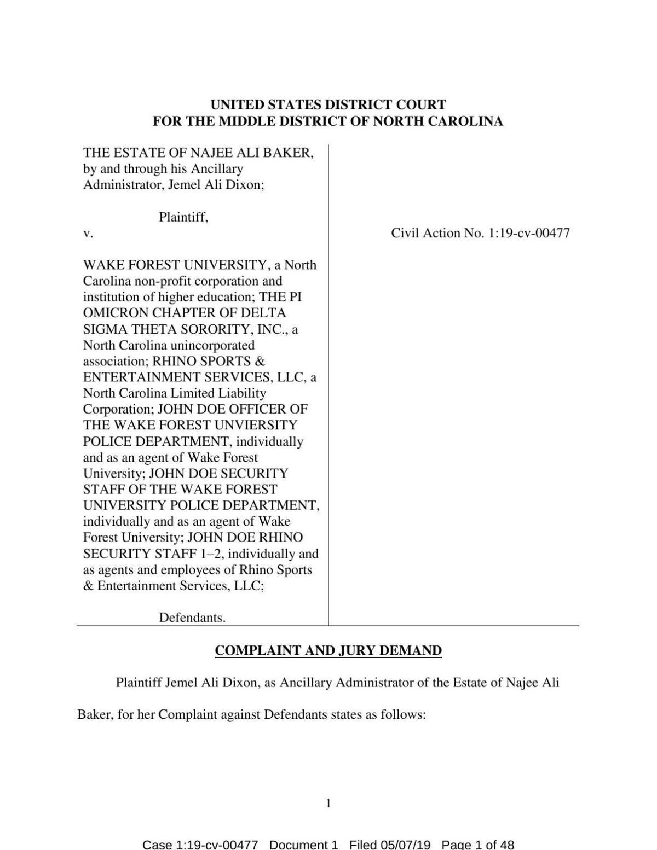 Baker lawsuit