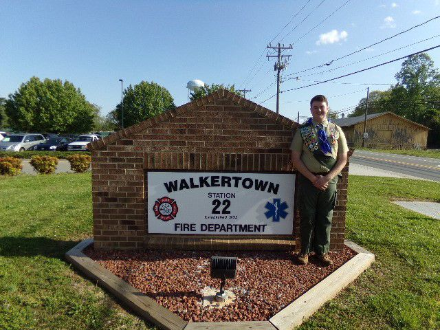 Carl Marshall with his Eagle Scout project