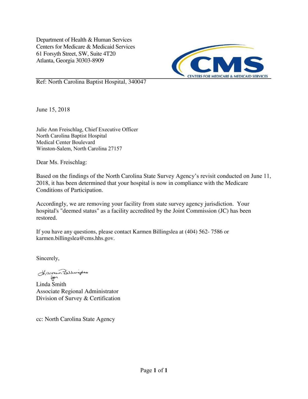 Medicare letter to Wake Forest Baptist | | journalnow com