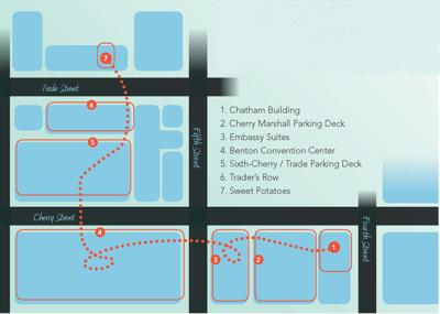 This Map Shows Andrews Route For Getting From Fourth To Trade Street Without Going Outside Sort Of