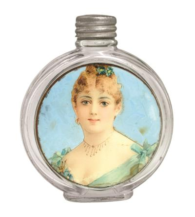 Flask with label under glass