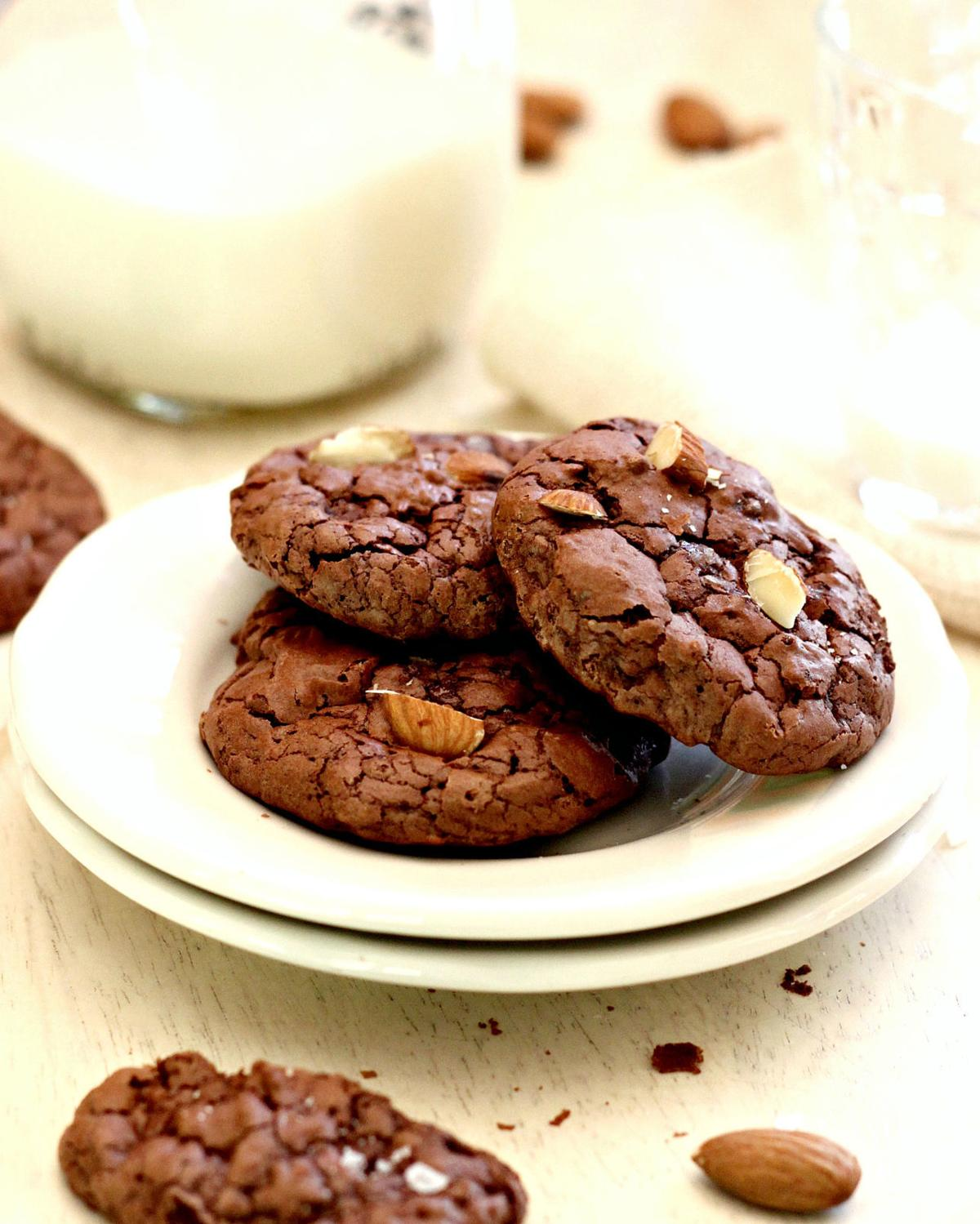 Chocolate Crinkle Cookies With Toasted Almonds and Sea Salt