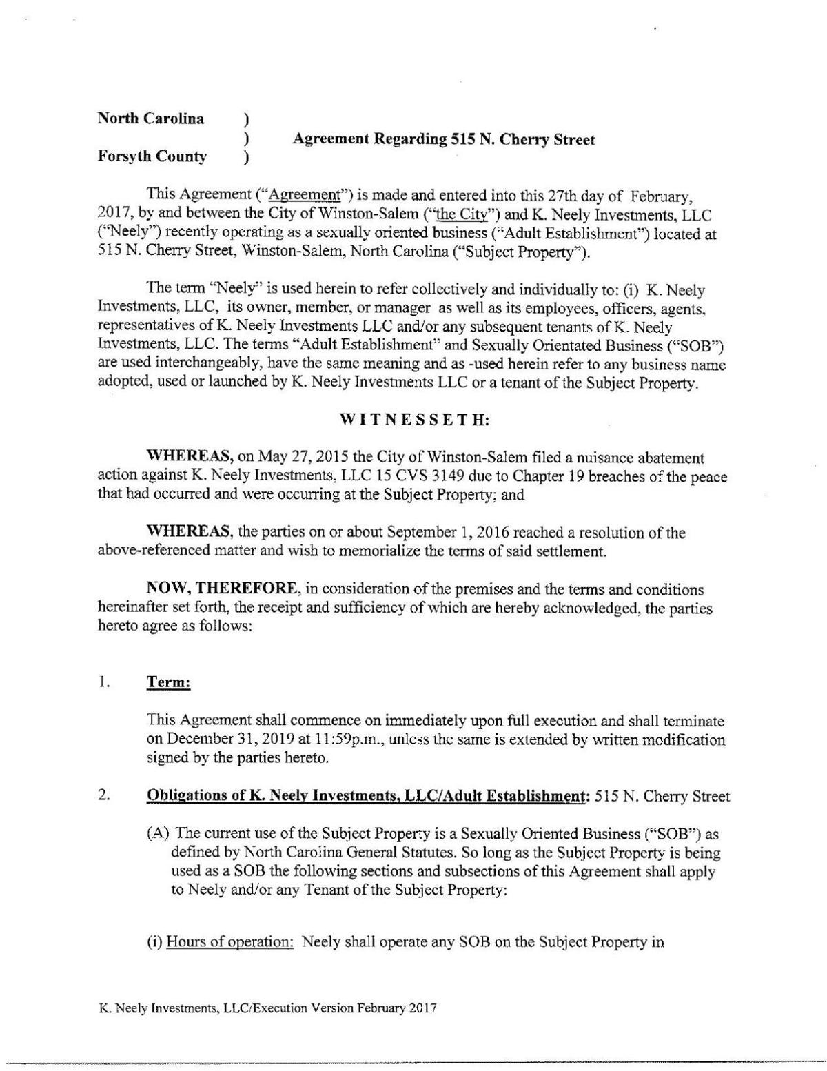 Citys Settlement Agreement With Strip Club Journalnow