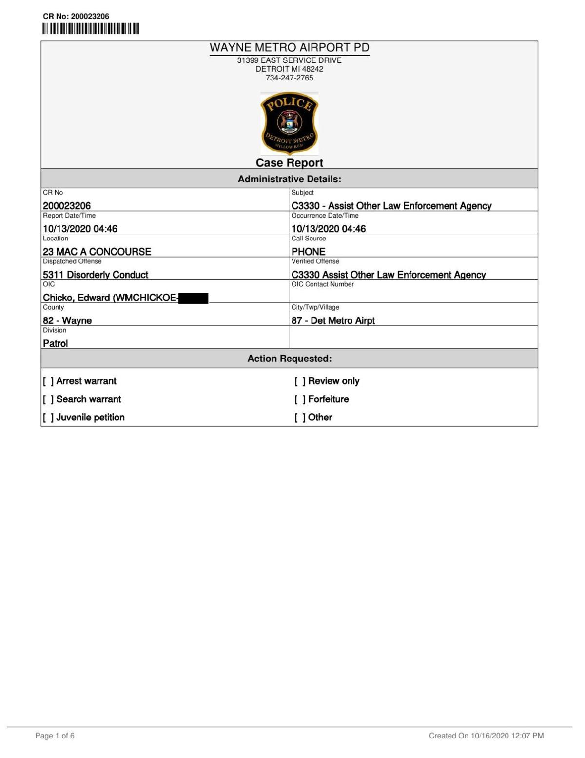 Chalmers police report