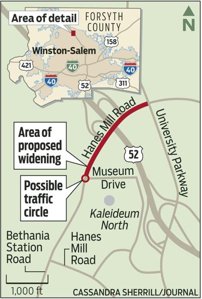 Map of possible traffic circle on Hanes Mill Road