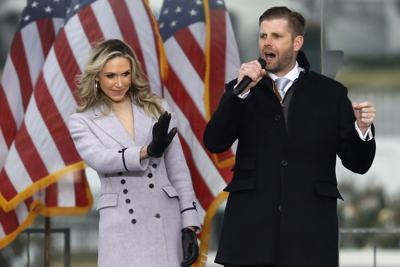 Eric Trump, son of U.S. President Donald Trump, speaks next to his wife Lara at the Save America Rally on the Ellipse on Wednesday, Jan. 6, 2021 near the White House in Washington, D.C..
