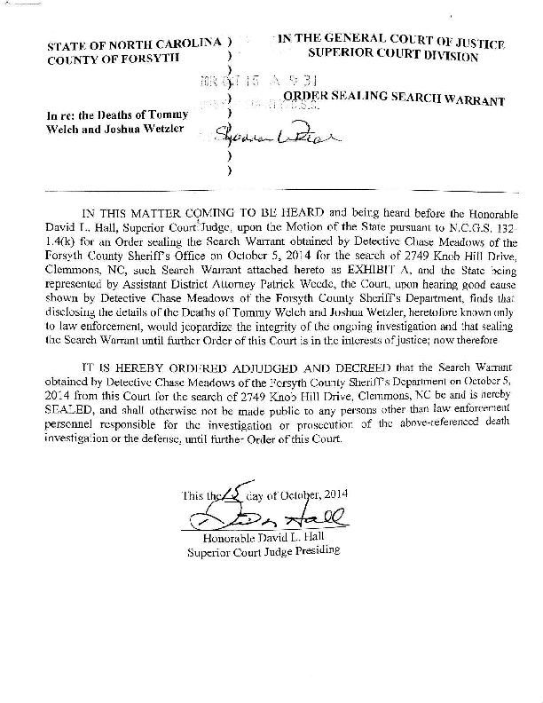 Judge's order to seal Oct. 5 search warrant
