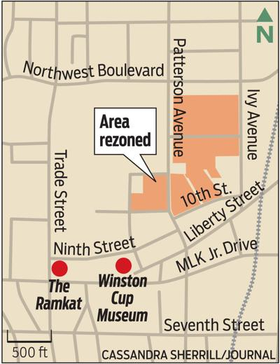 Map of area rezoned for entertainment