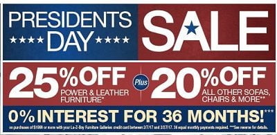 La Z Boy Furniture Galleries Presidents Day Sale Calendar