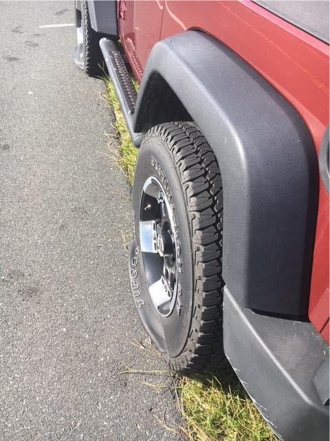 Jeep tire slashed