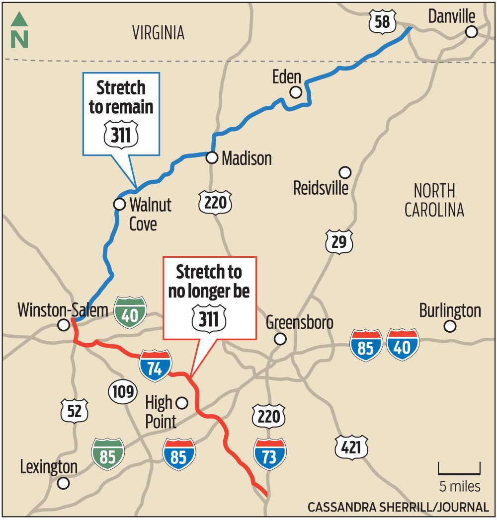 U.S. 311 to High Point is going away (but don't worry ... Interstate Map on heartland map, hobbs map, us route 84 map, us route 20 map, highway map, delco map,