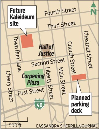Map of future Kaleideum site and planned parking deck