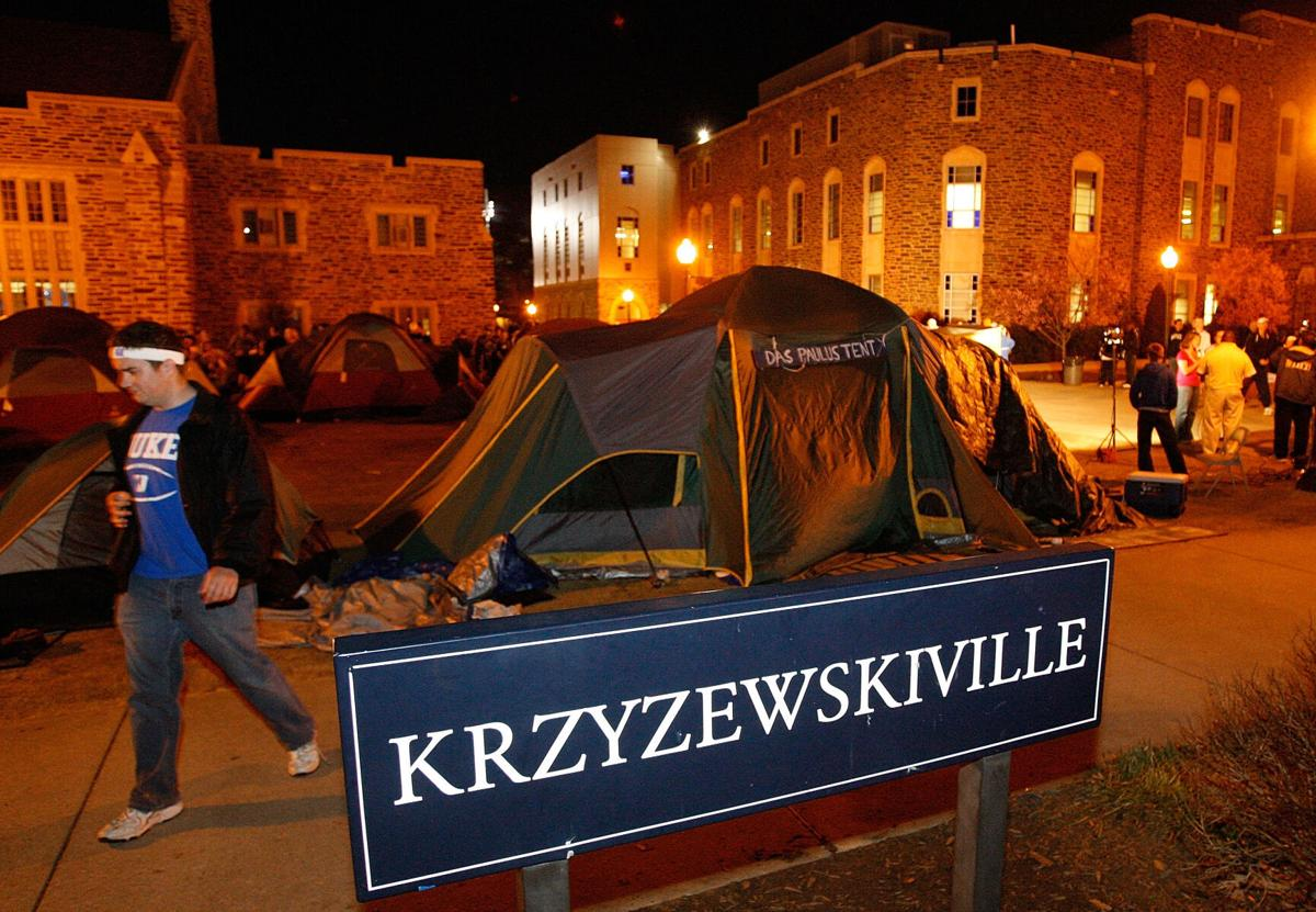 In this photo from February 11, 2009, Duke students camp out prior to the start of the annual showdown with the North Carolina Tar Heels in a makeshift campsite known as Krzyzewskiville at Cameron Indoor Stadium in Durham, North Carolina.