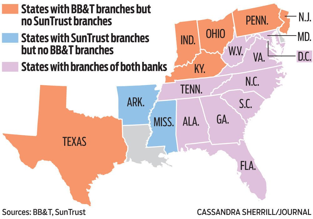 BB&T merger means bigger market share | Business ... on suntrust routing number, suntrust sign on, suntrust careers, suntrust locations near texas, suntrust bank map, suntrust atm machines, suntrust park, suntrust bank ohio, suntrust bank logo, suntrust safeway locations, suntrust login, suntrust wallpaper, suntrust online, suntrust branch locations, bb&t footprint map, suntrust company, suntrust bank locations, suntrust branch map, suntrust footprint map, suntrust personal banking,